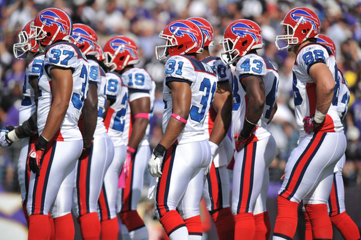 BALTIMORE MD - OCTOBER 24:  The Buffalo Bills kickoff team huddles before the kick against the Baltimore Ravens at M&T Bank Stadium on October 24 2010 in Baltimore Maryland. The Ravens defeated the Bills 37-34. (Photo by Larry French/Getty Images)