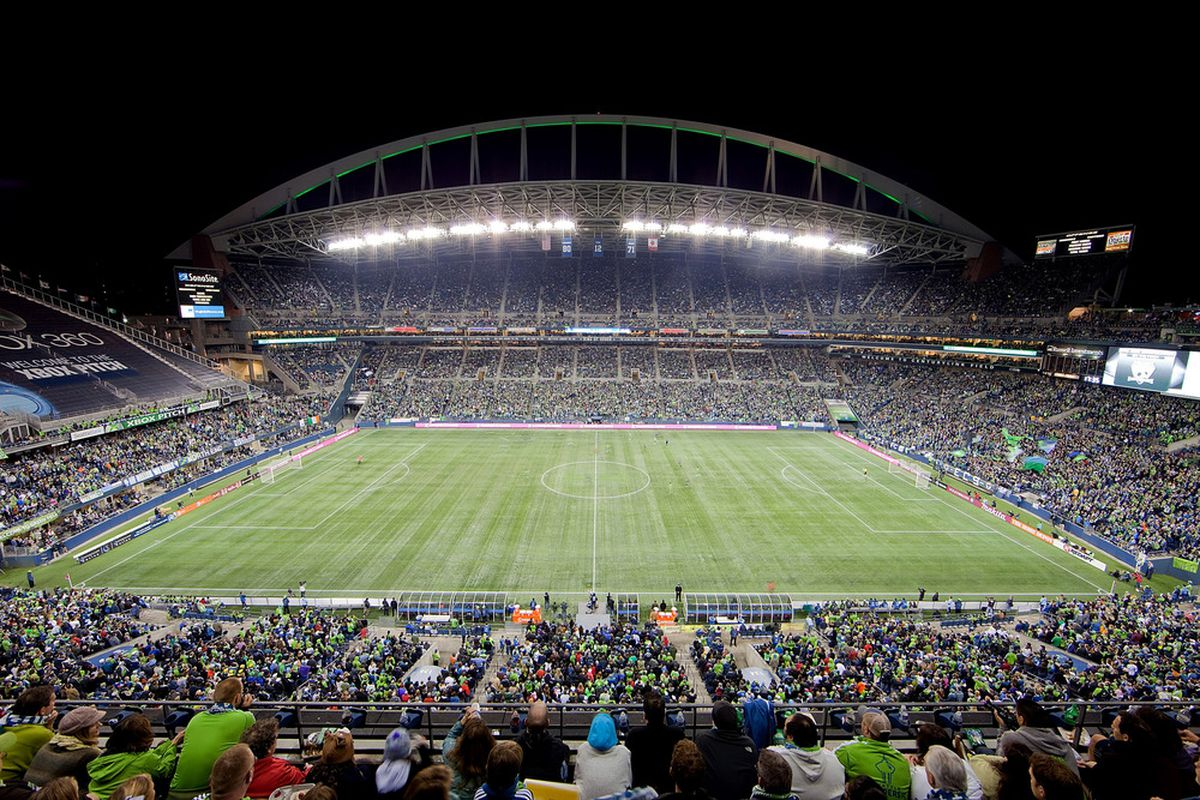 As cool as it would have been, there won't be nearly this many fans in attendance when the Seattle Sounders play Santos Laguna in the CONCACAF Champions League quarterfinals. (Photo by Otto Greule Jr/Getty Images)