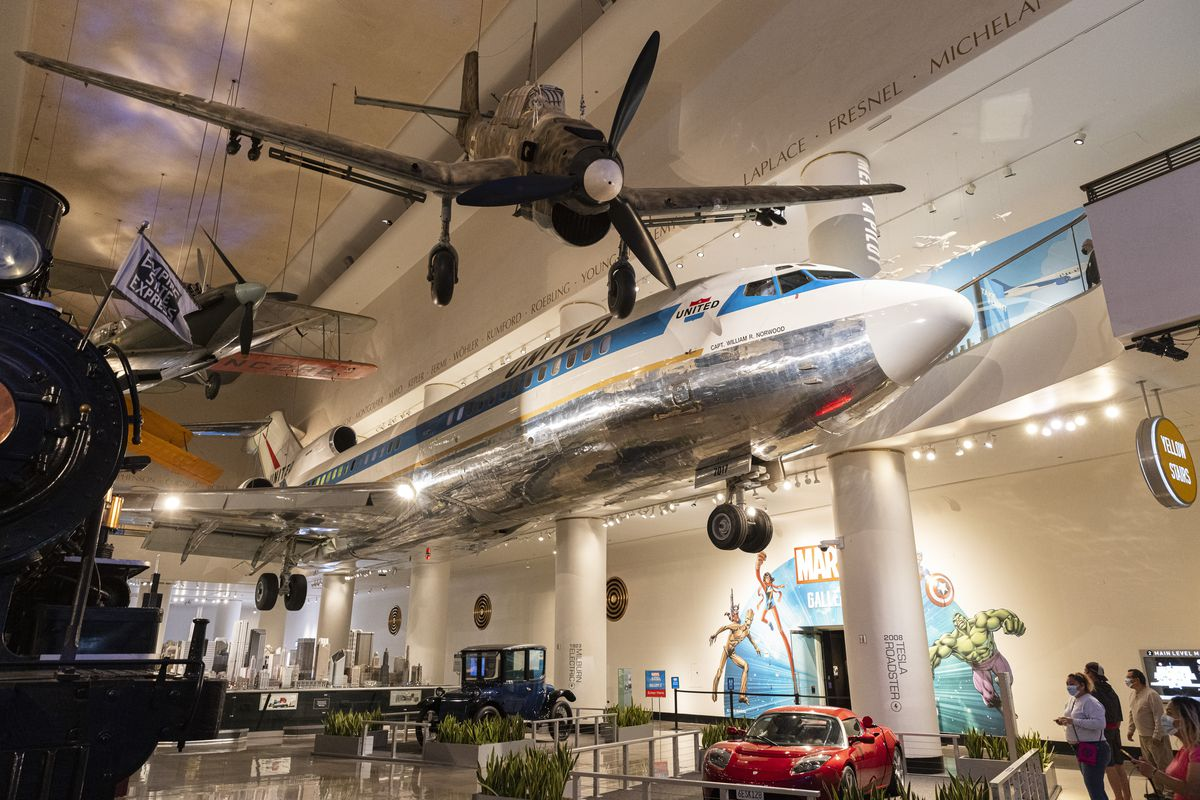 The newly updated Boeing 727 exhibit at the Museum of Science and Industry which will stay open late on June 11 in celebration of the city fully reopening.