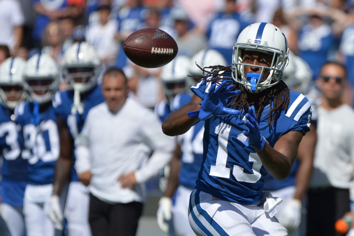 Indianapolis Colts wide receiver T.Y. Hilton makes a third quarter catch against the Los Angeles Chargers at Dignity Health Sports Park.