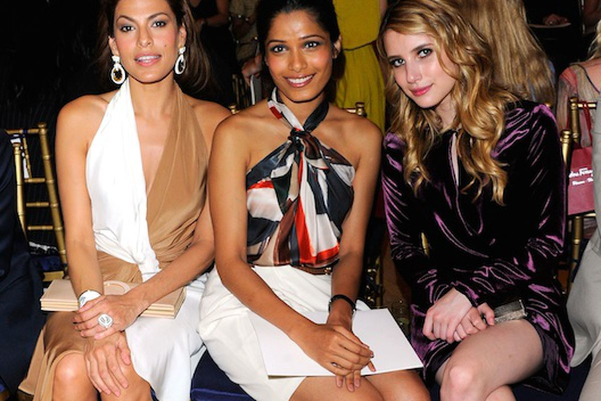 Eva Mendes, Frieda Pinto and Emma Roberts front row via Getty Images