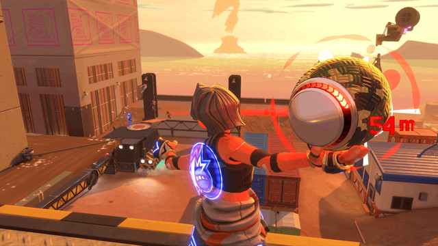 Seen from behind, a player winds up a dodgeball shot, aiming for an opponent across a rooftop in the distance in Knockout City