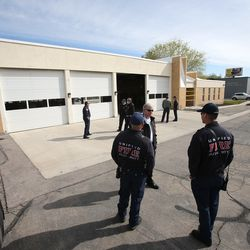 Unified Fire Authority firefighters stand outside Station 102in Magna on Friday, April 17, 2020. Unified officials announced Friday that the crews at the station, 8609 W. Main, will relocate to Station 111, 8215 W. 3500 South, less than 2 miles away, due to concerns over the recent increase in seismic activity in the area.