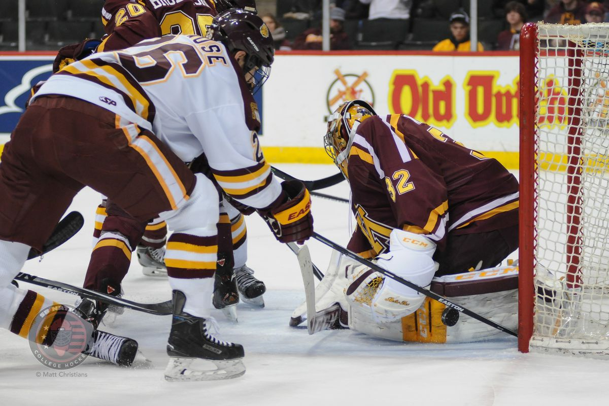 Adam Krause scored both goals against Minnesota in the Bulldogs' 2-1 win this past January.