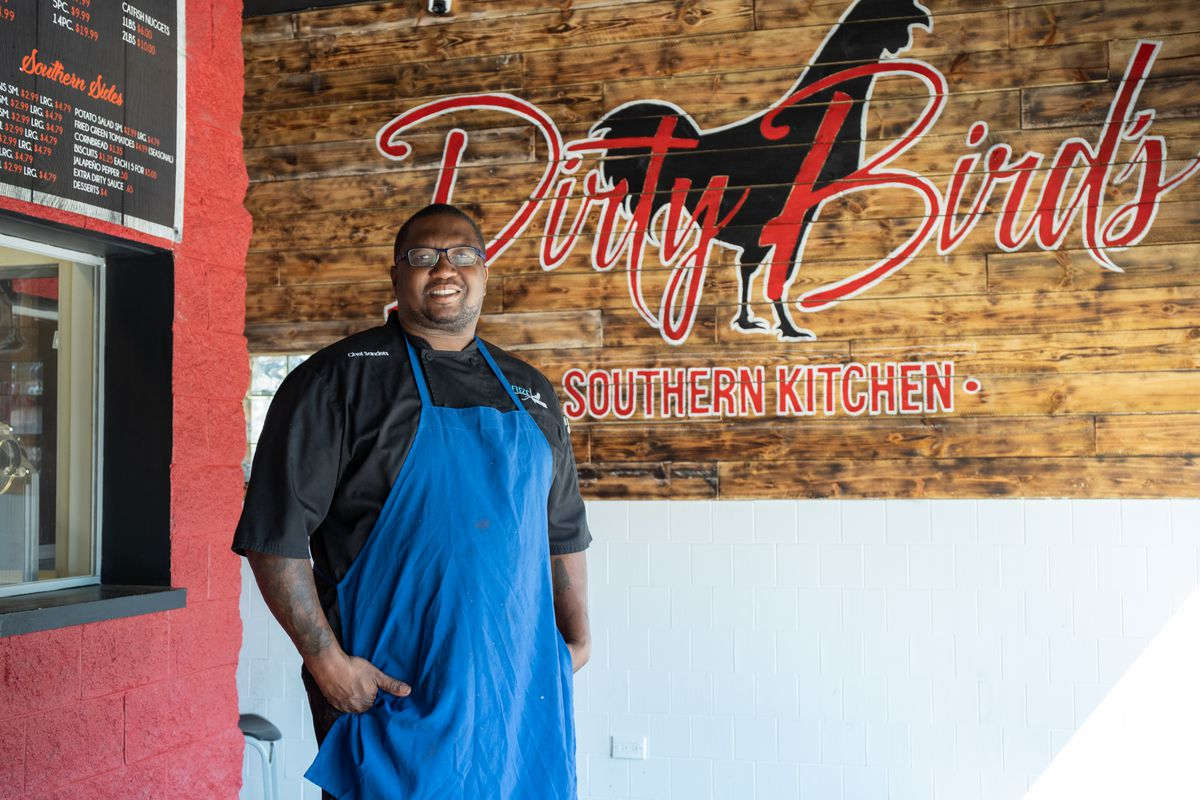 Dirty Birds Southern Kitchen Founder James Sanders poses in the restaurant in Gresham Wednesday morning July 29, 2020. Sanders, whose business partner died of COVID-19, distributes about 900 meals per day to those in need in rehabilitations centers across Chicago.   Pat Nabong/Sun-Times