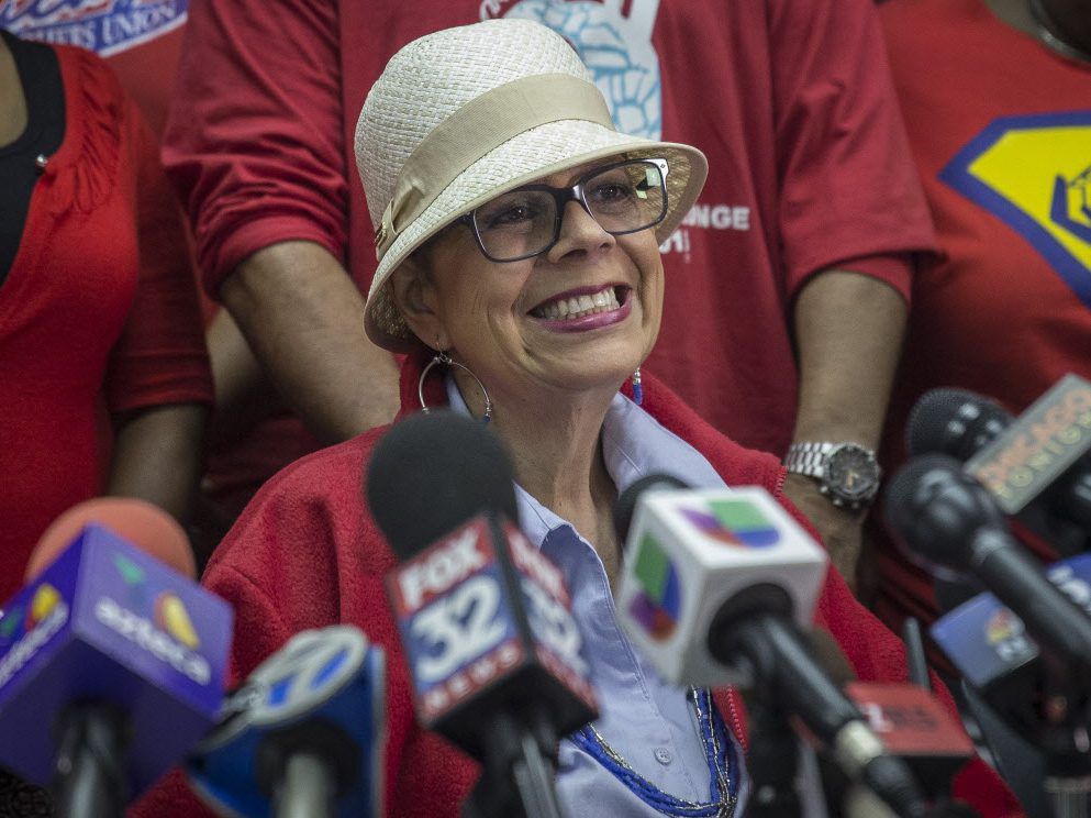 Former Chicago Teachers Union President Karen Lewis, who died earlier this year, shown talking to reporters in 2015.
