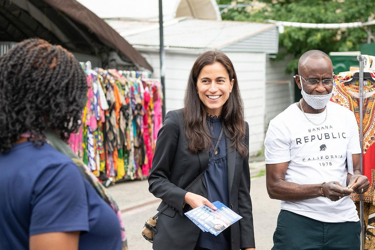 District attorney candidate Tali Farhadian Weinstein campaigns in Manhattan.