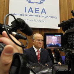 Director General of the International Atomic Energy Agency, IAEA, Yukiya Amano from Japan waits for the start of the IAEA board of governors meeting at the International Center, in Vienna, Austria, Monday, Sept. 10, 2012.