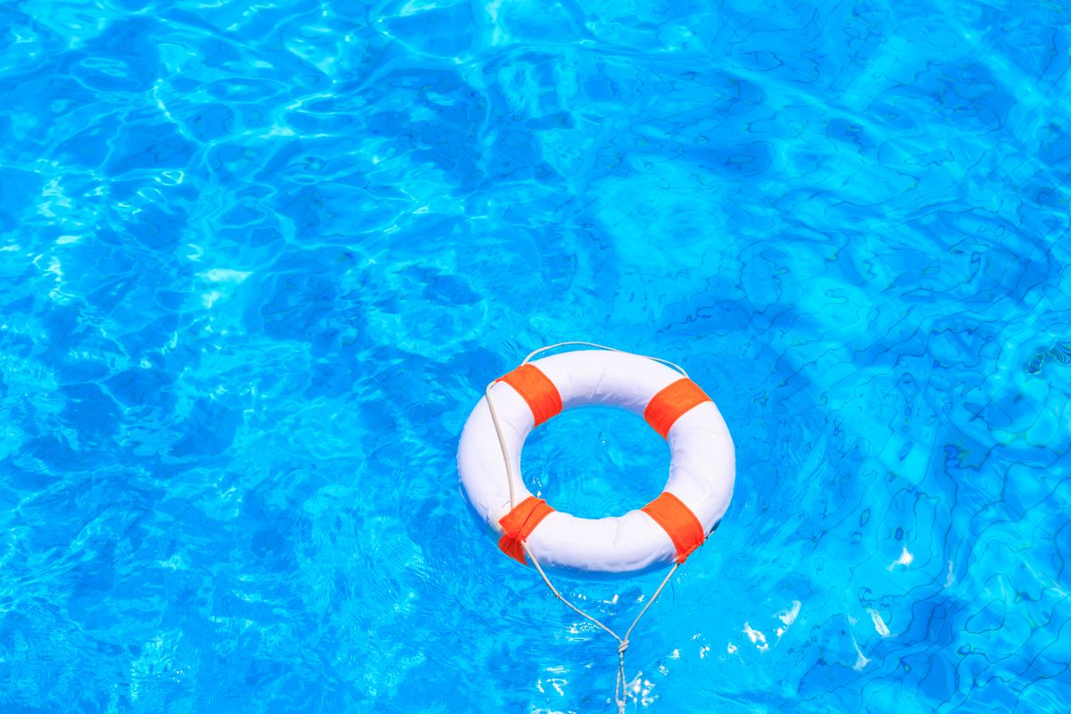 Life raft, ocean