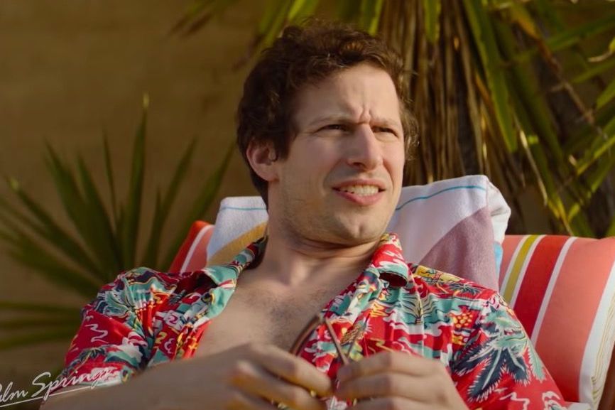 andy samberg donning a hawaiian shirt in palm springs