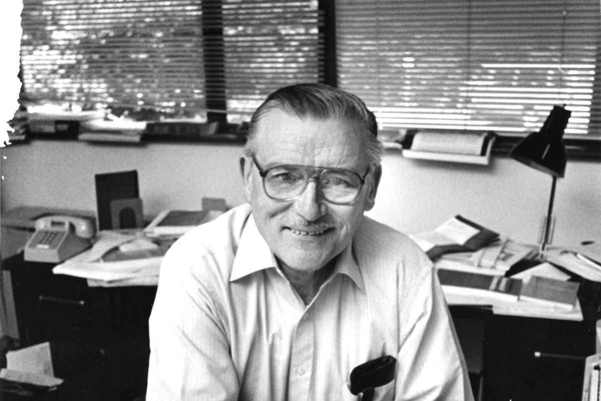 The economist James M. Buchanan, at George Mason University, 1985.