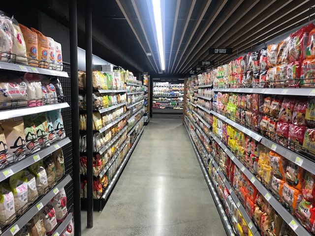 An aisle at the grocery store District H in South Lake Union.