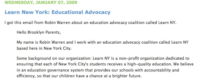 Brooklyn mom blogger Louise Crawford posted Learn NY's statement ##http://onlytheblogknowsbrooklyn.typepad.com/only_the_blog_knows_brook/2009/01/learn-new-york-educational-advocacy.html##on her web site##, but other parents are refusing.