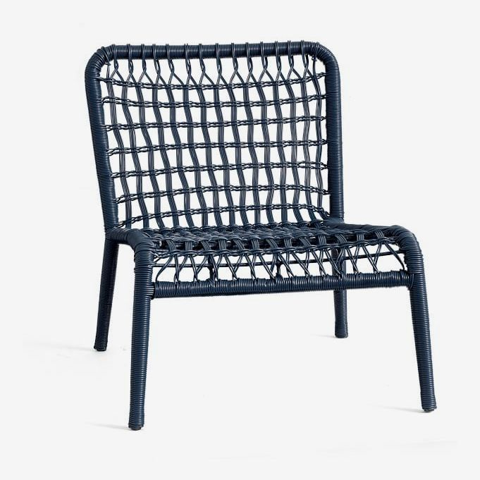 Blue woven chair.
