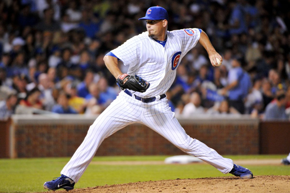 July 31, 2012; Chicago, IL, USA; Chicago Cubs relief pitcher Scott Maine (57) delivers a pitch during the sixth inning against the Pittsburgh Pirates at Wrigley Field.  Mandatory Credit: Rob Grabowski-US PRESSWIRE