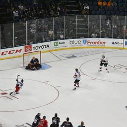 Anthony Stolarz makes a save on Vinni Lettieri in the pass and score challenge