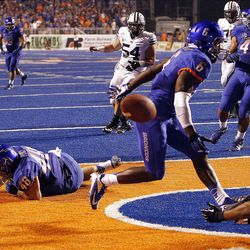 A pass falls incomplete as BYU tries a two point conversion against Boise State during NCAA football in Boise, Thursday, Sept. 20, 2012.