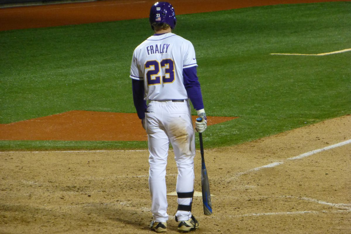 Jake Fraley with all the returning members of the LSU outfield