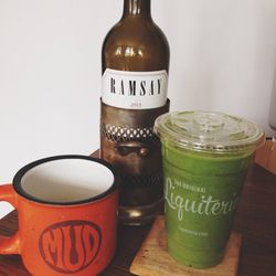 To cap off a long week I end the day with my three favorite beverages: Mud coffee, Ramsay cabernet sauvignon, and a Mean Green smoothie from Liquiteria. It's possible I had a little bit of all of them.