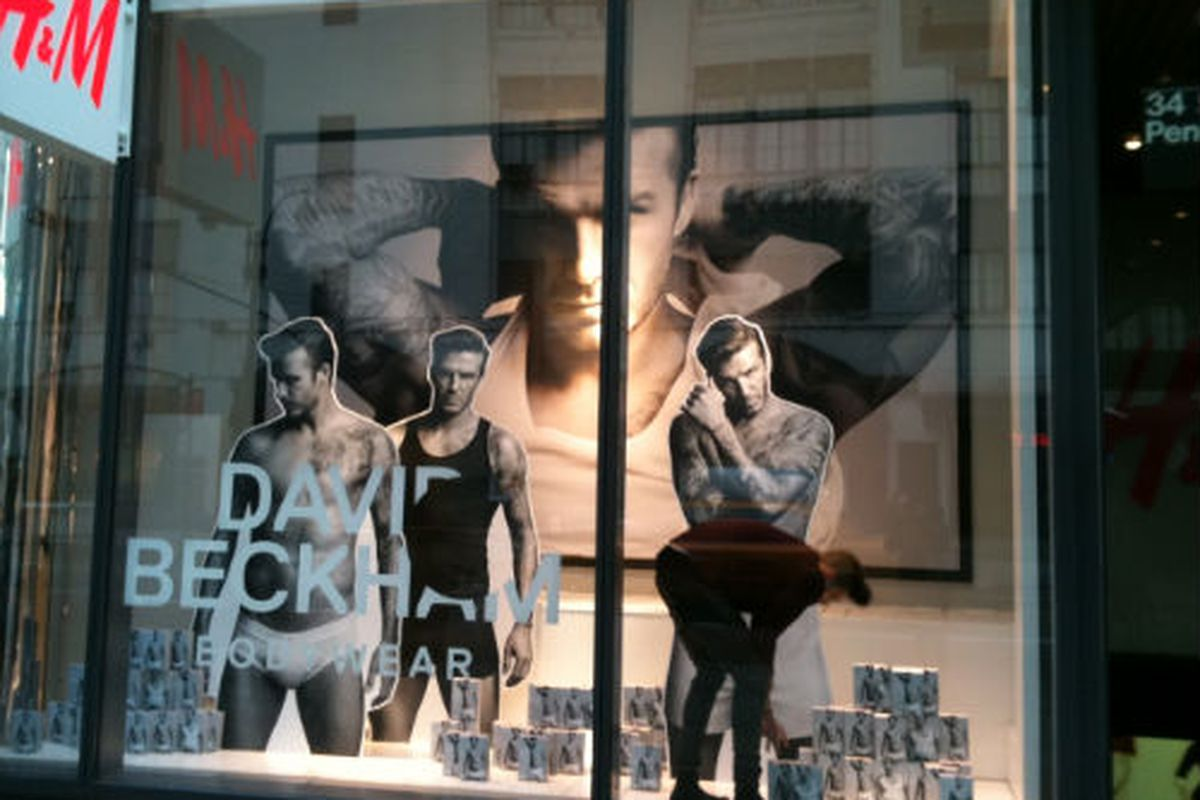 Any excuse to post a photo of David Beckham in his underwear. The 34th St. Manhattan H&M, via Racked NY