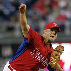 Philadelphia Phillies starting pitcher Joe Blanton throws the ball in the second inning of an exhibition baseball game against the Pittsburgh Pirates on Monday, April 2, 2012, in Philadelphia.