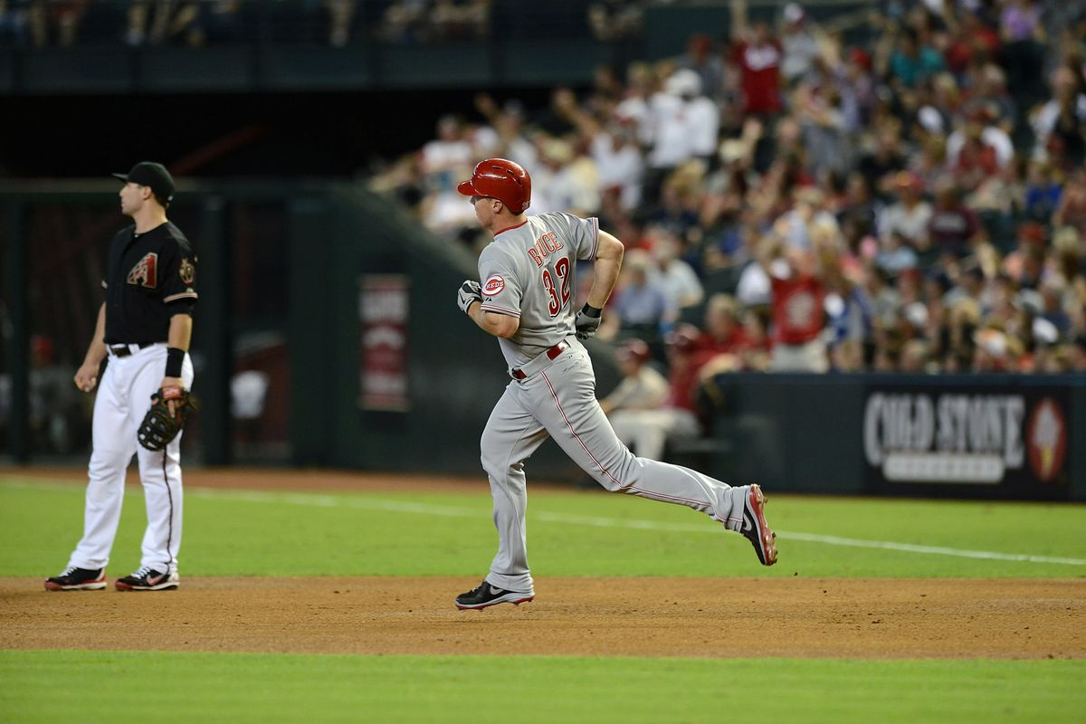 Jay Bruce trots around the bases. Saw a lot of that last week, didn't we?