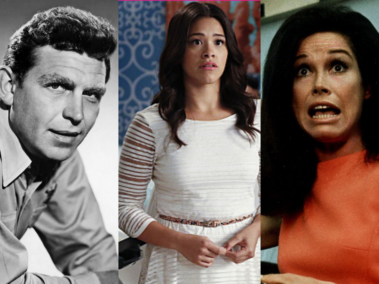 Andy Griffith plays Andy Taylor, Gina Rodriguez plays Jane Villaneuva, and Mary Tyler Moore plays Mary Richards.