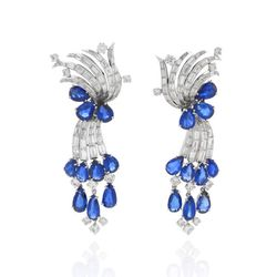 Blue sapphire and diamond earrings by Cartier. Circa 1950s. $125,000
