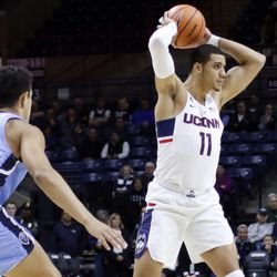 UConn's Kwintin Williams (11) during the Columbia Lions vs UConn Huskies men's college basketball game at Gampel Pavilion in Storrs, CT on November 29, 2017.