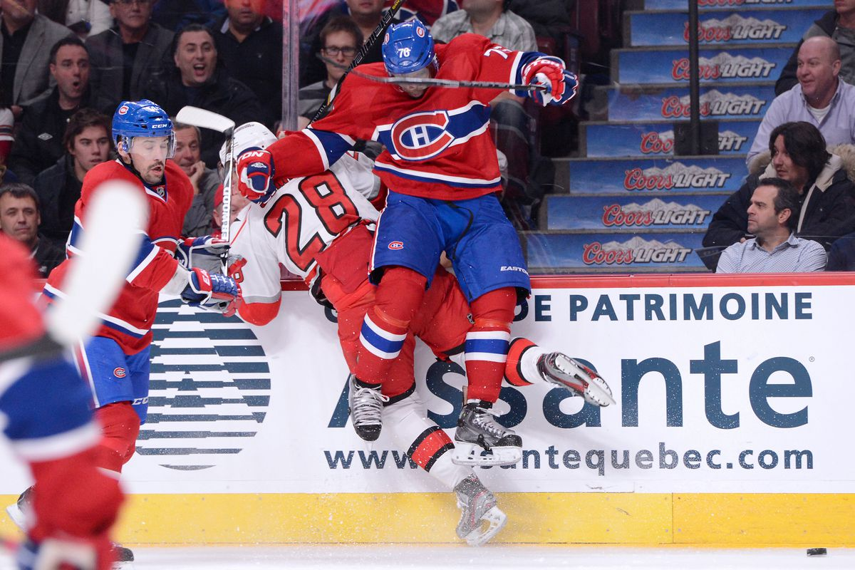 P.K. Subban with a hit on Alex Semin in Montreal on Monday night