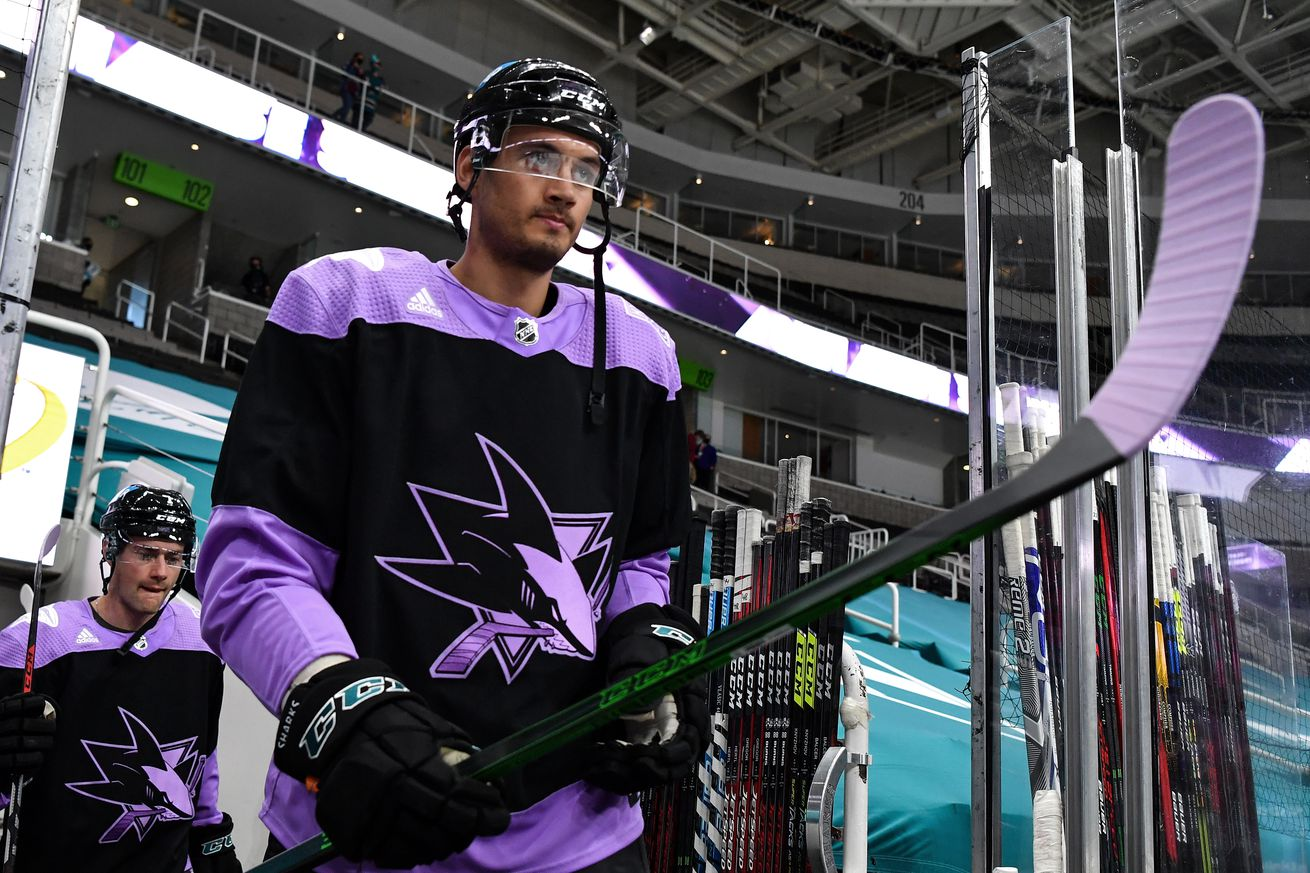 Alexander True #70 of the San Jose Sharks takes the ice for warmups in Hockey Fights Cancer warmup jerseys against the Colorado Avalanche at SAP Center on May 3, 2021 in San Jose, California.