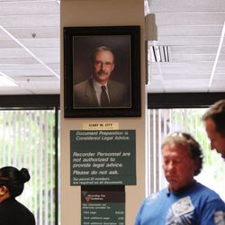 FILE - A portrait of current Salt Lake County Recorder Gary Ott is pictured in the Salt Lake County Recorder's Office in Salt Lake City on Monday, June 5, 2017.
