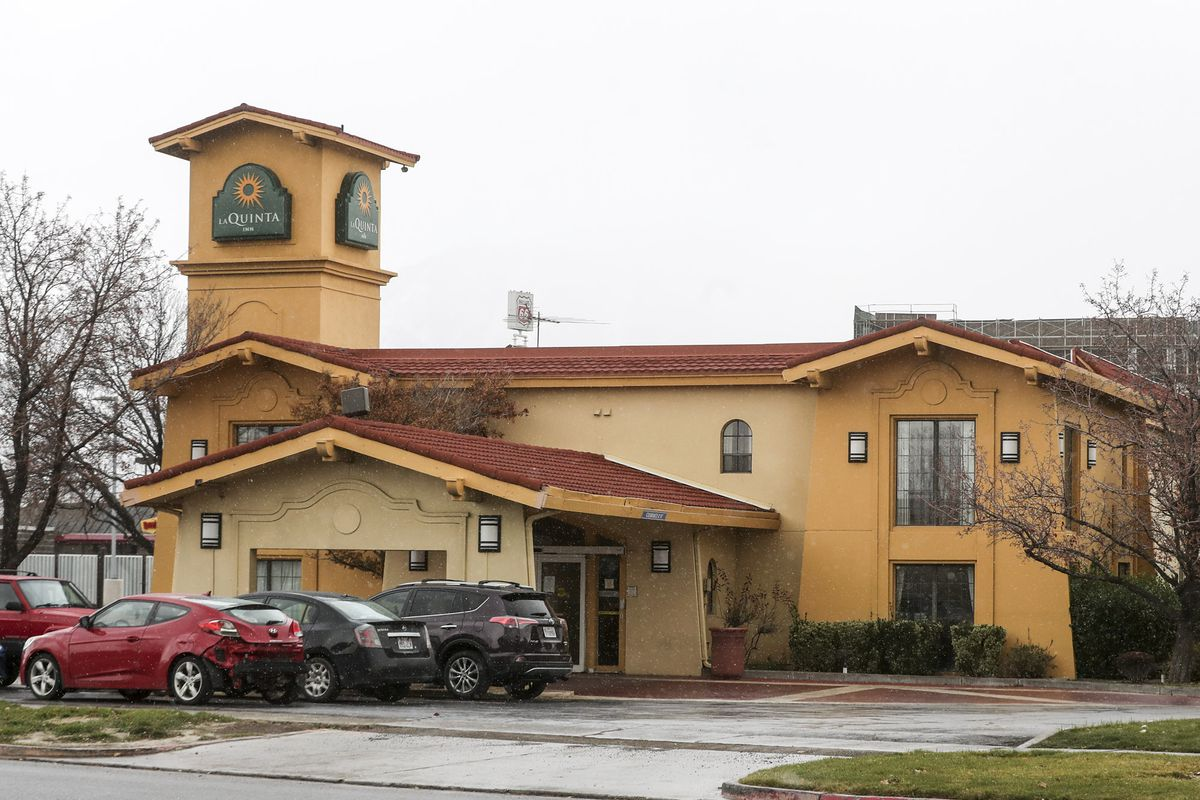 The La Quinta Inn at 7231 Catalpa St. in Midvale is pictured on Wednesday, Nov. 11, 2020. The inn is located near the Midvale Family Shelter and is being considered as a winter overflow shelter.