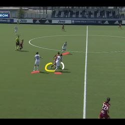 Soffia shows both Juve players a clean set of heels, running into space that didn't exist prior to Soffia creating it for herelf, but she's now triple-teamed by Italian international midfielder Martina Rosucci...