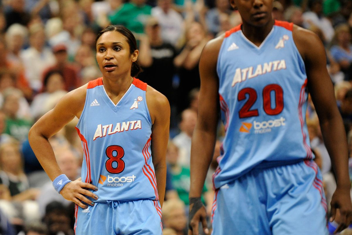 MINNEAPOLIS, MN - OCTOBER 5: Iziane Castro Marques (left) will try to bring some of that scoring punch she gave the Atlanta Dream in the 2011 WNBA playoffs to the Washington Mystics. <em>Photo by Hannah Foslien/Getty Images.</em>