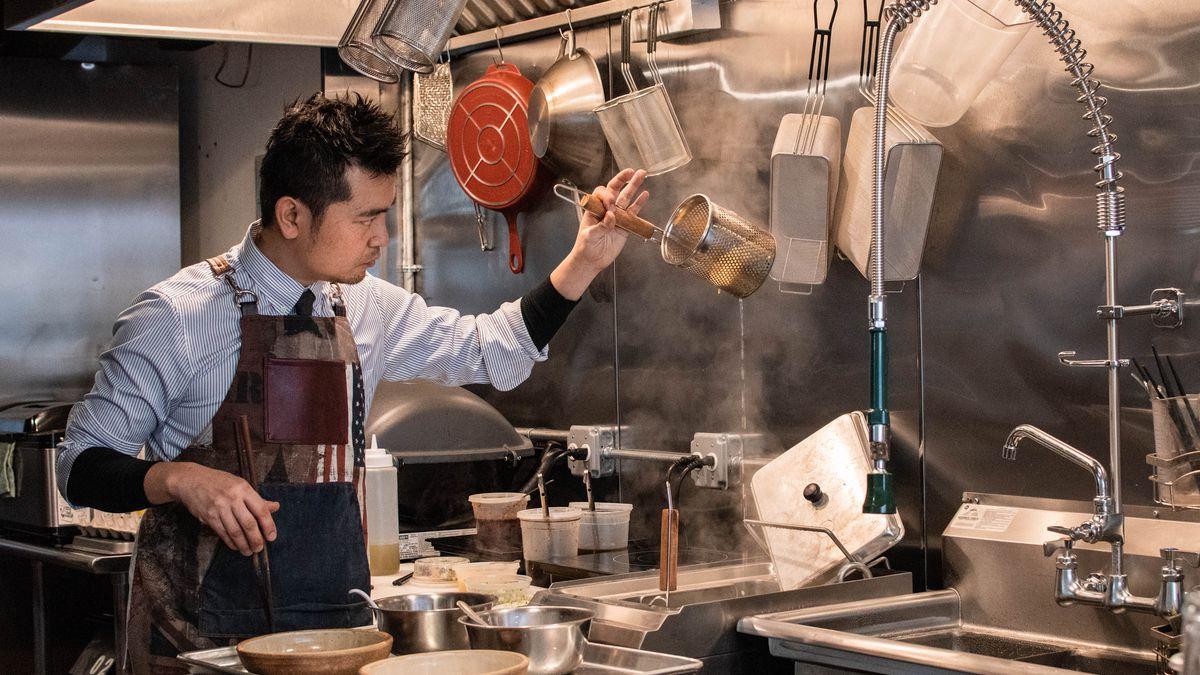 Chef Shigetoshi Nakamura prepares ribeye mazemen at Niche