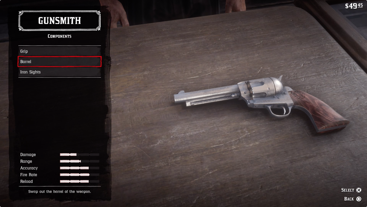 Red Dead Redemption 2 - changing components for the cattleman revolver