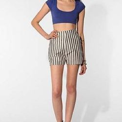 """<a href=""""http://www.urbanoutfitters.com/urban/catalog/productdetail.jsp?id=23912157""""><b>Urban Outfitters</b> Velour Minnie Striped Shor</a>, $69.99 (was $160)"""