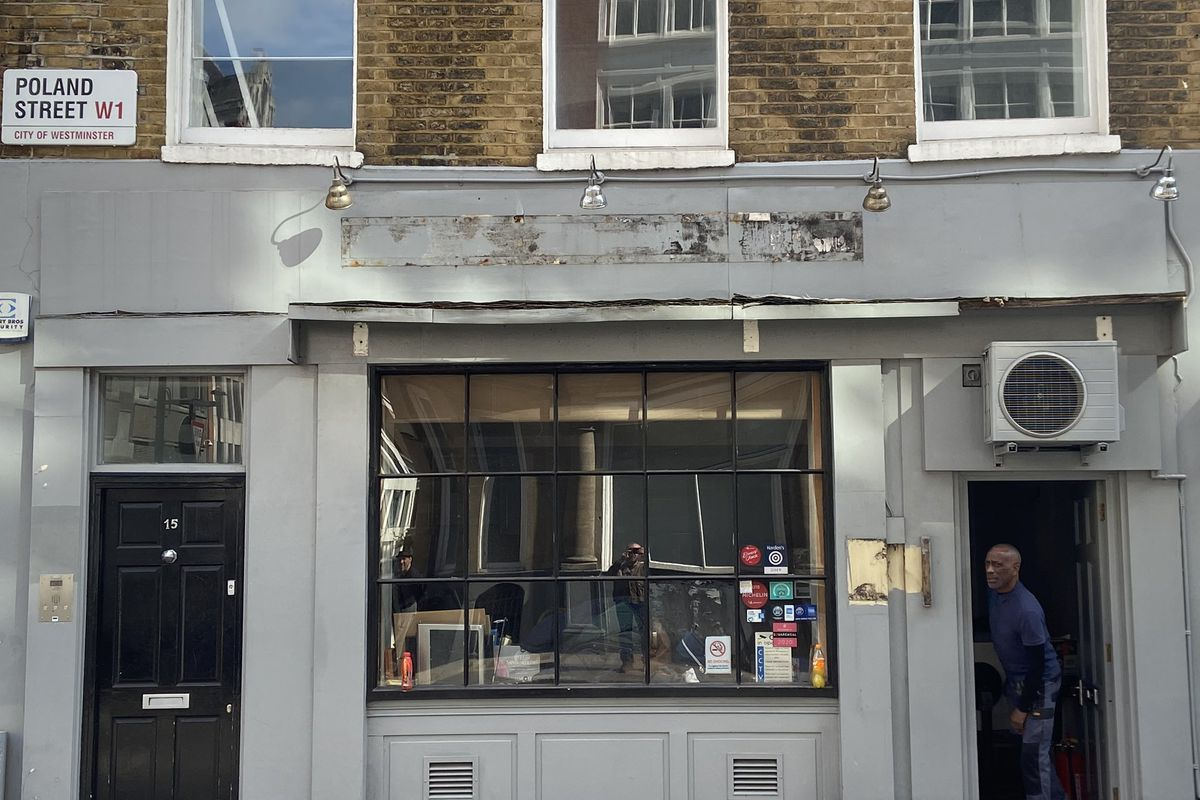 Vasco and Piero's Pavillion —one of Soho's best loved restaurants has closed on Poland Street, its sign was removed by builders on 27 April 2021