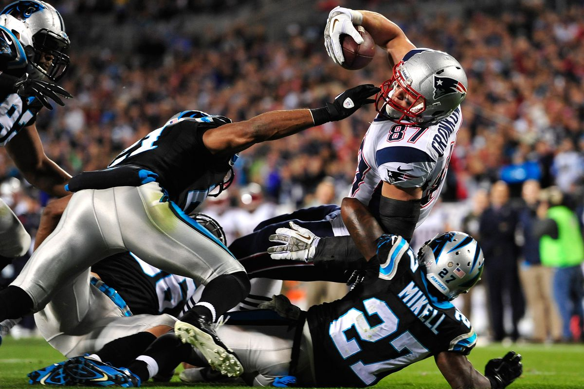 Gronkowski attracted a crowd of defenders wherever he went last night.