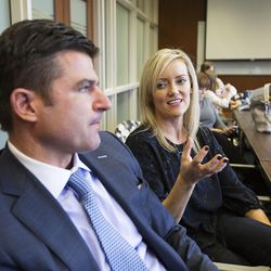 Lisa O'Neil talks about her husband, CEO of the Philadelphia 76ers, Scott O'Neil's conversion to the LDS faith on a visit to the BYU Marriott School in Provo, Thursday, Oct. 13, 2016.
