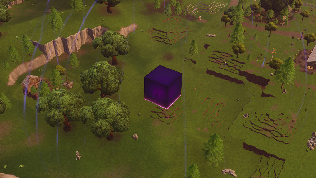 A zoomed out view of the purple cube