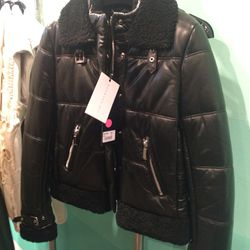 Leather puffer, $609