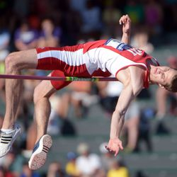 Derek Drouin of Indiana wins the high jump at 7-8 (2.34m) in the 2013 NCAA Championships.