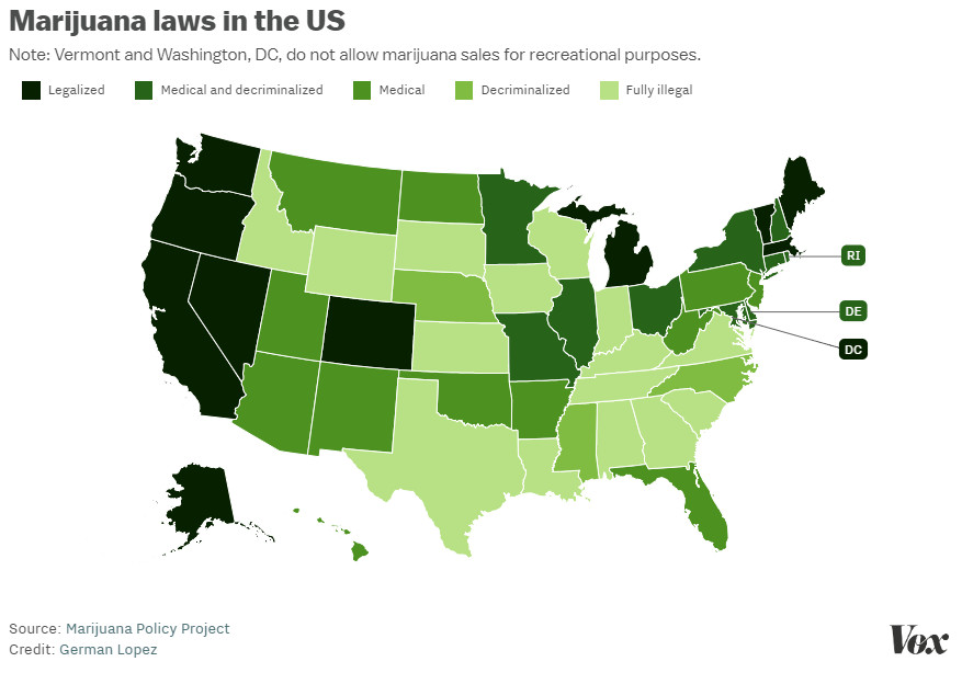 The Spread Of Marijuana Legalization Explained Vox
