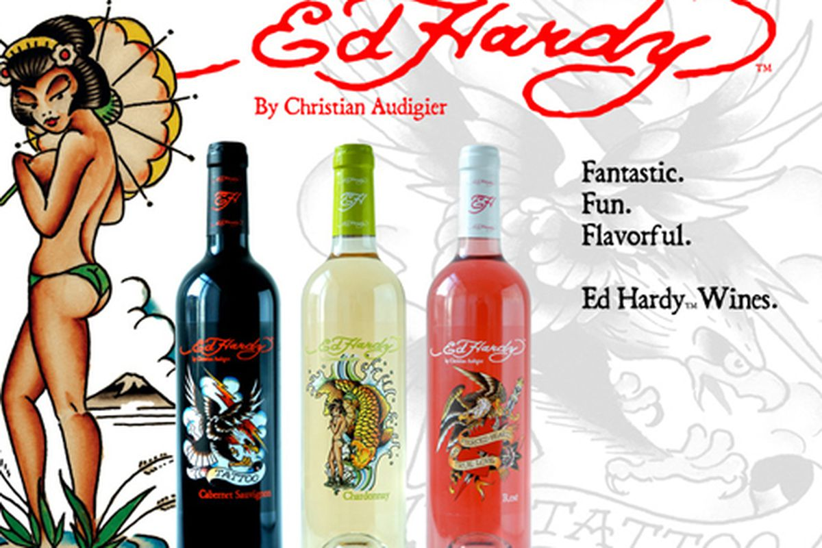 """Extremely classy image via <a href=""""http://www.edhardywines.com/"""">Ed Hardy Wines</a>"""