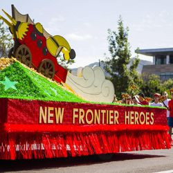 The Sandy Utah Willow Creek Stake float is pictured during the Days of '47 Union Pacific Railroad Youth Parade held Saturday, July 18, 2015, in Salt Lake City.