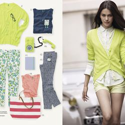 Pops of color mix with florals and stripes in the new collection.