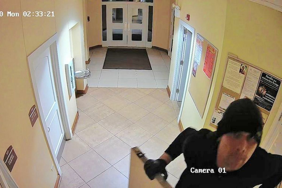 A man is wanted by police for burglarizing Divine Mercy Polish Mission Church near Lombard.