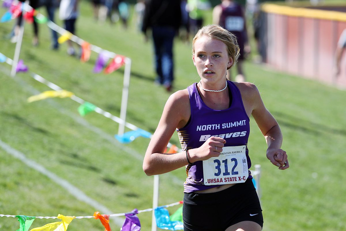 Elizabeth Zwahlen of North Summit wins the 2A girls high school state cross-country championships in Cedar City on Wednesday, Oct. 21, 2020.